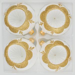 "- Reflektorkugeln - Reflexkugeln - Reflector Ball - 4 tlg. Glas-Weihnachtskugeln Set 8cm Ø in ""Vintage Classic Weiss Gold"""