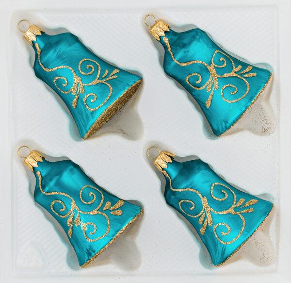 4 teilige Glas Glocken Set Christbaumkugeln Weihnachtskugeln Set Ice Petrol Gold Christmas Balls