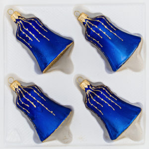 """4 tlg. Glas-Glocken Set in """"Ice Royal Blau Gold"""" Regen - Christbaumkugeln - Weihnachtsschmuck-Christbaumschmuck"""
