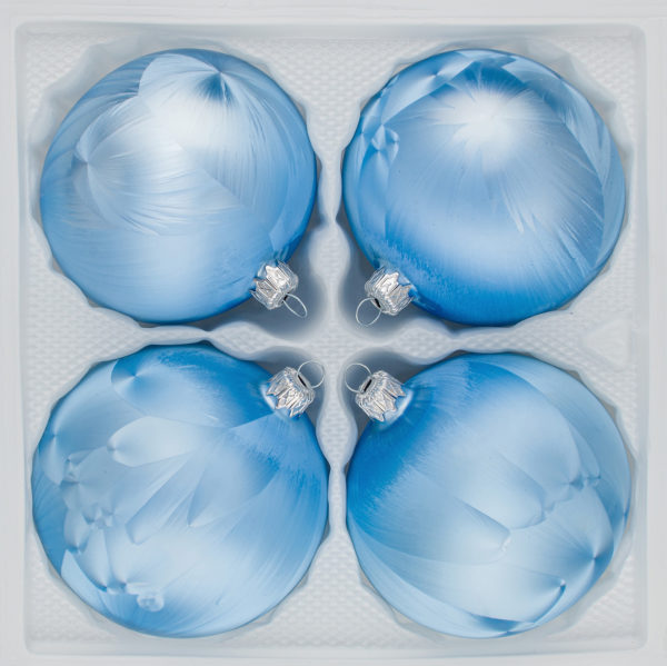 4 teiliges Christbaumkugeln Ice Blau Blue Eislack Weihnachtskugeln Christmasballs Christmas baubles