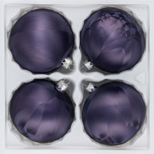 4 teiliges Christbaumkugeln Ice Graphit 8cm durchmesser Eislack Weihnachtskugeln Christmasballs Christmas baubles