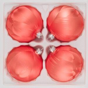 4 teiliges Christbaumkugeln Ice Lachs 8cm durchmesser Eislack Weihnachtskugeln Christmasballs Christmas baubles