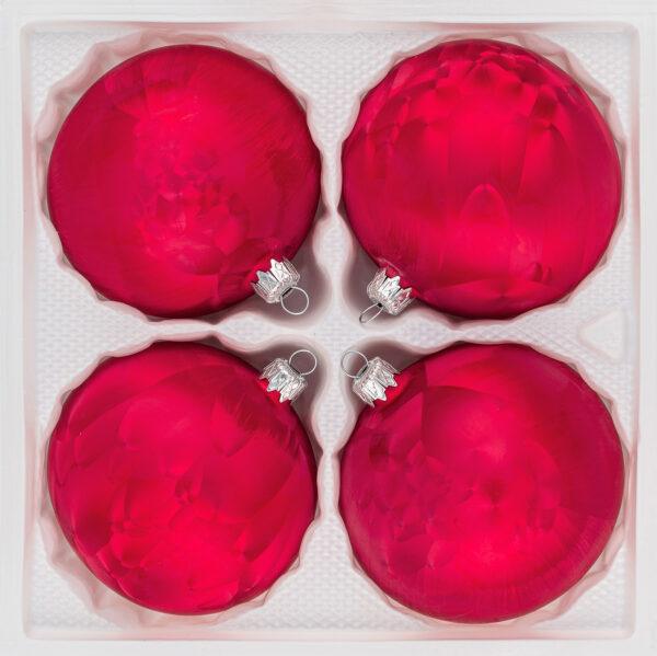 4 teiliges Christbaumkugeln Ice Rot 8cm durchmesser Eislack Weihnachtskugeln Christmasballs Christmas baubles