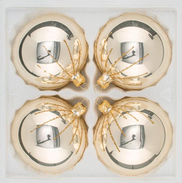 """4 tlg. Glas-Weihnachtskugeln Set 10cm Ø in """"Chrom Champagner Gold"""" Regen - Christbaumkugeln - Weihnachtsschmuck-Christbaumschmuck 10cm Durchmesser"""