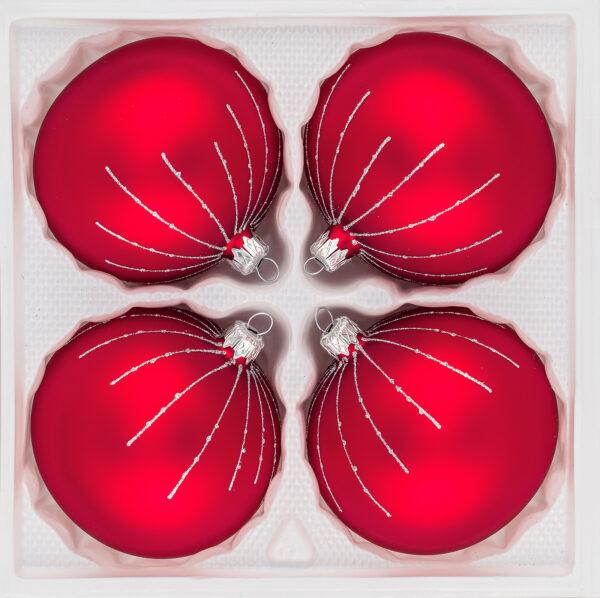 4 tlg. Glas-Weihnachtskugeln Set 12cm Ø in Classic Rot Silber Regen- Christbaumkugeln - Weihnachtsschmuck-Christbaumschmuck 12cm Durchmesser