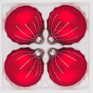 4 tlg. Glas-Weihnachtskugeln Set 8cm Ø in Classic Rot Silber Regen- Christbaumkugeln - Weihnachtsschmuck-Christbaumschmuck 8cm Durchmesser