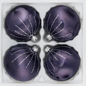 4 teiliges Glas Weihnachtskugeln Set Christbaumkugeln Weihnachtskugeln Set Ice Graphit silber regen