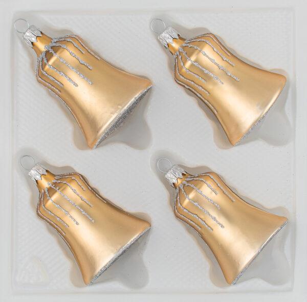 4 tlg. Glas-Glocken Set in Classic Gold Silber Regen - Christbaumkugeln - Weihnachtsschmuck-Christbaumschmuck