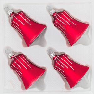 4 teiliges Glocken Set Weihnachtskugeln Christbaumkugeln Christmas Ball Classic Rot Regen