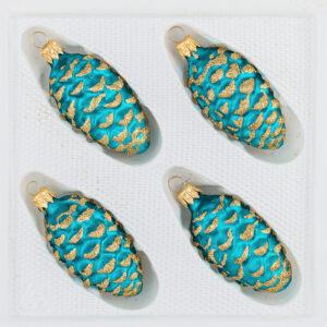 4 tlg. Glas-Tannenzapfen Set in Ice Petrol-Tuerkis Gold