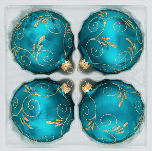 "4 tlg. Glas-Weihnachtskugeln Set 12cm Ø in ""Ice Petrol-Türkis Goldene Ornamente""- Christbaumkugeln - Weihnachtsschmuck-Christbaumschmuck 12cm Durchmesser"