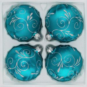 "4 tlg. Glas-Weihnachtskugeln Set 8cm Ø in ""Ice Petrol-Türkis Silber Ornamente"""