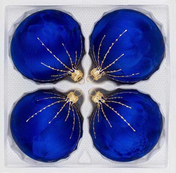 "4 tlg. Glas-Weihnachtskugeln Set 10cm Ø in ""Ice Royal Blau Gold"" Regen"