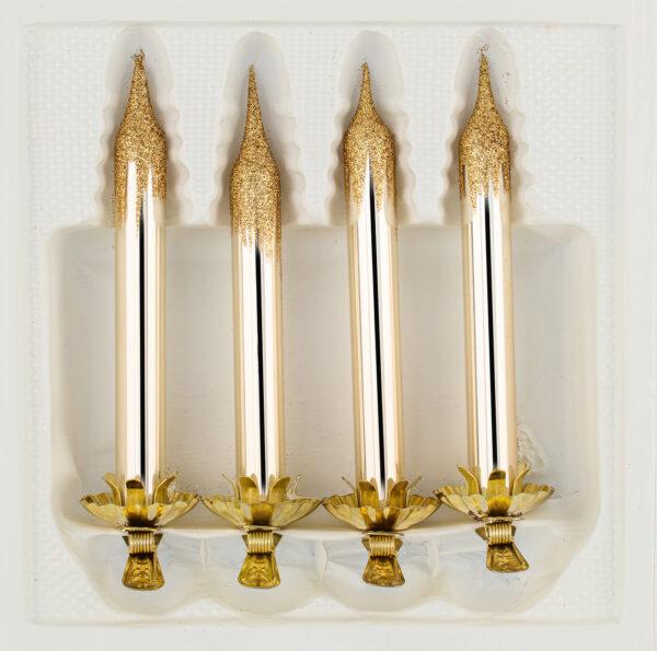 """4tlg. Glas-Baumkerzen Set in """"Chrom Champagner Gold"""""""