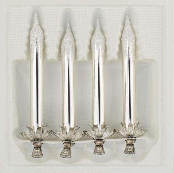 "4tlg. Glas-Baumkerzen Set in ""Hochglanz Vintage Silver Silber"" Reflexkugeln Reflectorball Christmas ball Candles Candle German Christmas glass ornaments"