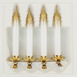 """4tlg. Glas-Baumkerzen Set in """"Hochglanz Weiss Gold"""""""