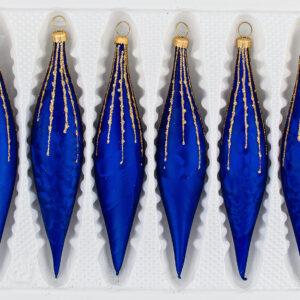6 Glas Zapfen Set Weihnachtskugeln Christbaumkugeln Christmas Ball Ice Royal Blau Gold Regen