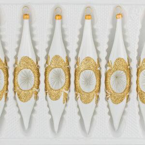 """6 tlg. Glas-Zapfen Set in """"Hochglanz """"Vintage Classic Weiss Gold"""" -- Reflektorzapfen - Reflektorkugeln - Reflexkugeln - Reflector Ball"""
