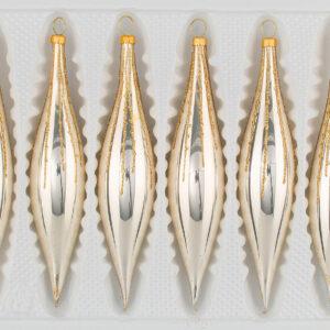 """6 tlg. Glas-Zapfen Set in """"Chrom Champagner Gold"""" Regen- Christbaumkugeln - Weihnachtsschmuck-Christbaumschmuck"""