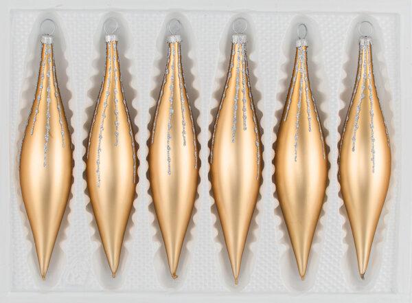6 tlg. Glas-Zapfen Set in Classic Gold Silber Regen - Christbaumkugeln - Weihnachtsschmuck-Christbaumschmuck