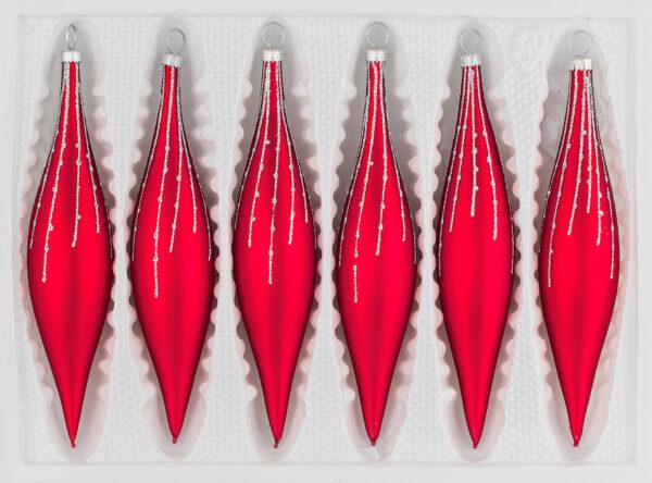 6 teilige Glas Zapfen Set Christbaumkugeln Weihnachtskugeln Set Classic Rot silber regen