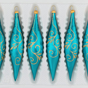 6 teilige Glas Zapfen Set Christbaumkugeln Weihnachtskugeln Set Ice Petrol Tuerkis Gold Design