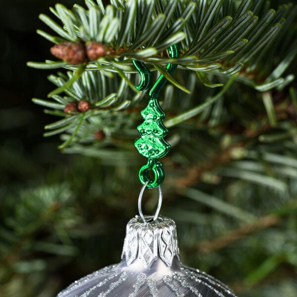 "60 Stück Weihnachtskugeln Haken ""Metallic Grüner Tannenbaum"" Aufhänger Christbaumkugel Anhänger"