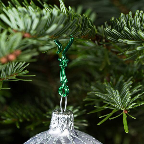 "60 Stück Weihnachtskugeln Haken ""Metallic Grüner Stern"" Aufhänger Christbaumkugel Anhänger"
