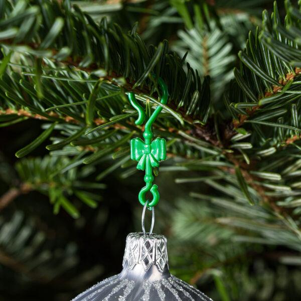 "60 Stück Weihnachtskugeln Haken ""Klassik Grüne Schleife"" Aufhänger Christbaumkugel Anhänger"