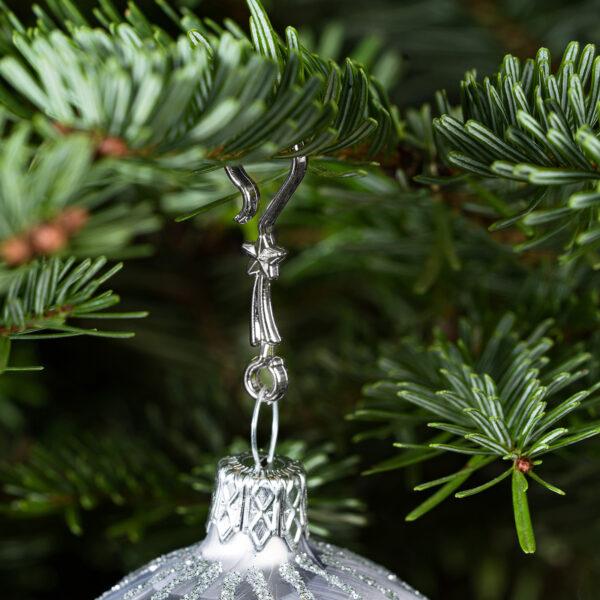 "60 Stück Weihnachtskugeln Haken ""Chrom Silber Stern"" Aufhänger Christbaumkugel Anhänger"