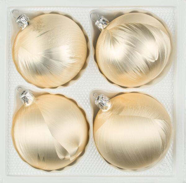"""4 tlg. Glas-Weihnachtskugeln Set 8cm Ø in """"Ice Champagner"""" Eislack - Christbaumkugeln - Weihnachtsschmuck-Christbaumschmuck 8cm Durchmesser"""