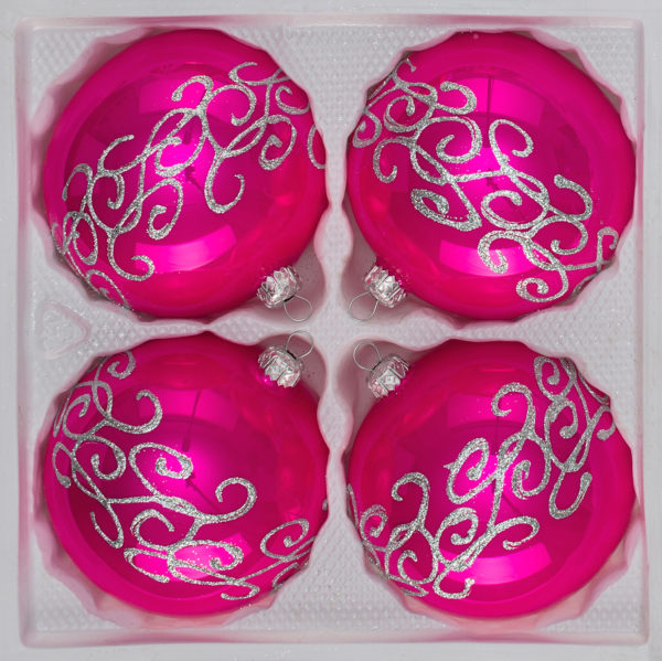"""4 tlg. Glas-Weihnachtskugeln Set 8cm Ø in """"Hochglanz Pink"""" Silberne Ornamente"""