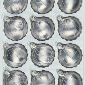 "christbaumkugeln-24.de - 12 tlg. Glas-Weihnachtskugeln Set in ""Ice Grau Silber"" Regen - Christbaumkugeln - Weihnachtsschmuck-Christbaumschmuck"
