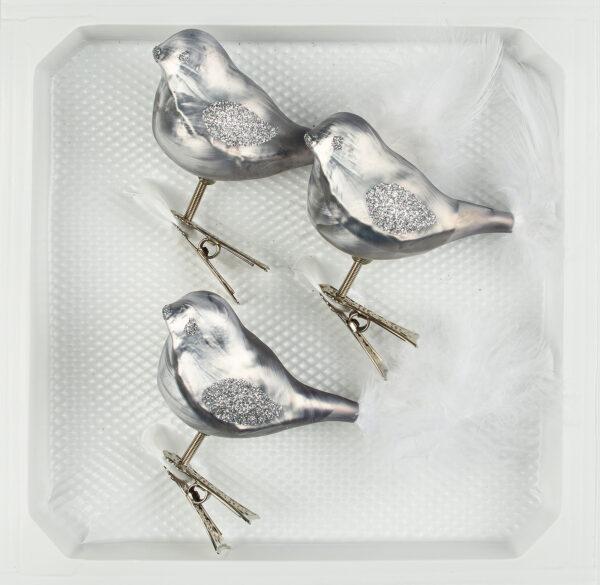 """christbaumkugeln-24.de - 3 tlg. Glas Vogel Set in """"Ice Grau Silber"""" - Christbaumkugeln - Weihnachtsschmuck-Christbaumschmuck"""
