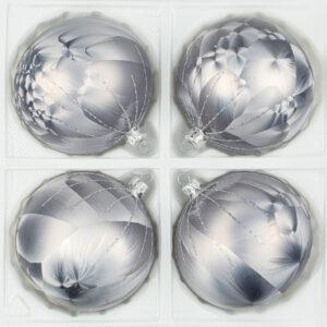 """christbaumkugeln-24.de - 4 tlg. Glas-Weihnachtskugeln Set 10cm Ø in """"Ice Grau Silber"""" Regen- Christbaumkugeln - Weihnachtsschmuck-Christbaumschmuck 10cm Durchmesser"""