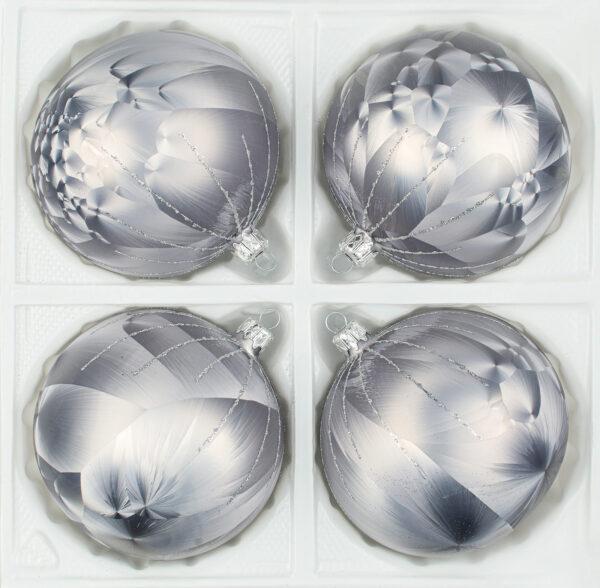 """christbaumkugeln-24.de - 4 tlg. Glas-Weihnachtskugeln Set 12cm Ø in """"Ice Grau Silber"""" Regen - Christbaumkugeln - Weihnachtsschmuck-Christbaumschmuck 12cm Durchmesser"""